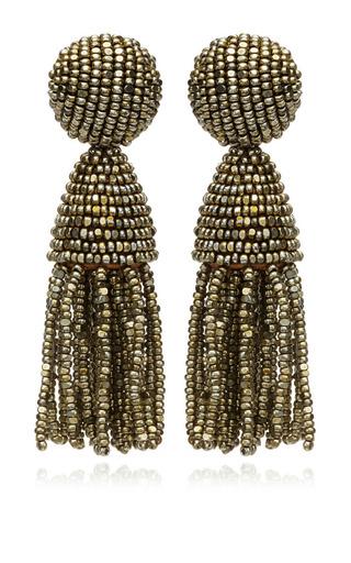 Medium oscar de la renta silver classic short tassle champagne bead earring