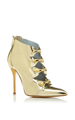 Medium oscar de la renta gold tobin bootie in platinum patent leather