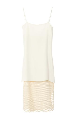 Medium adam lippes white double layer cami dress with lace overlay