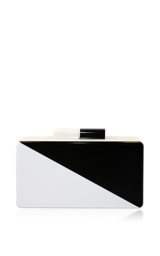Medium urania gazelli white diagonal black and white clutch