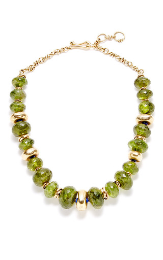 Medium helen yarmak green one of a kind peridot and lapis necklace