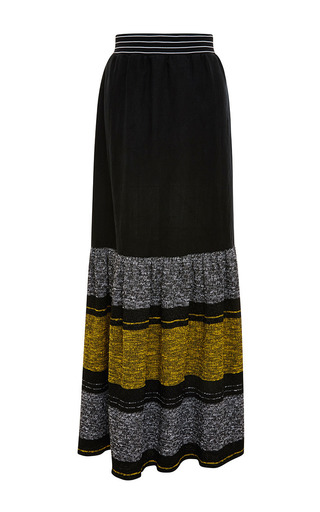 Medium clover canyon black striped linen maxi skirt