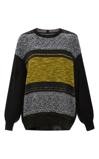 Medium clover canyon black linen striped sweatshirt