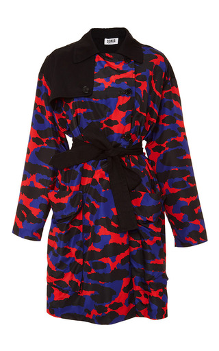 Medium sonia by sonia rykiel red red and blue nylon leopard printed coat