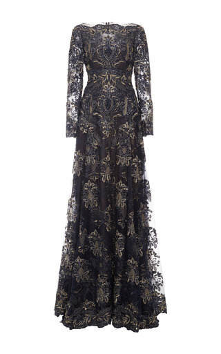 Medium marchesa blue re embroidered lace threadwork long sleeve gown