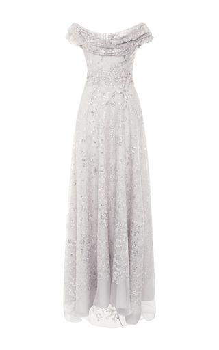 Medium marchesa silver sequin and threadwork embroidered organza gown