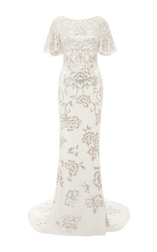 Medium marchesa white beaded rose chiffon gown