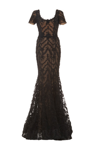 Medium marchesa black embroidered ribbon lace mermaid gown