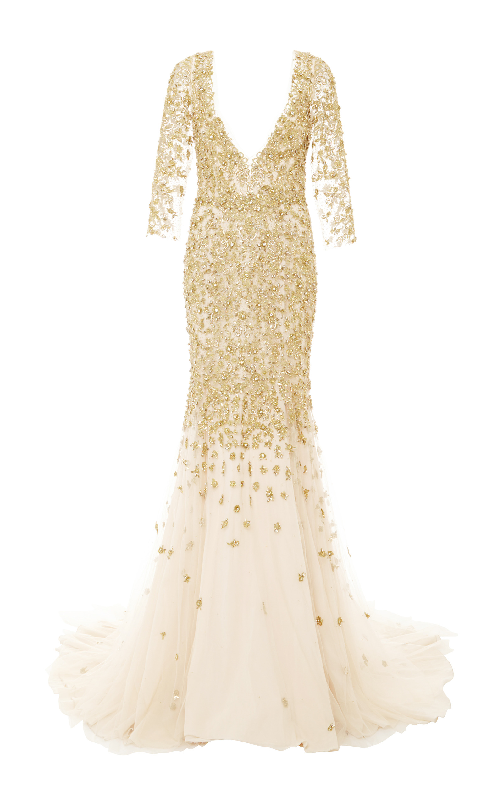 7ed19dc2ab Embroidered V-Neck Long Sleeve Tulle Gown by Marchesa   Moda Operandi