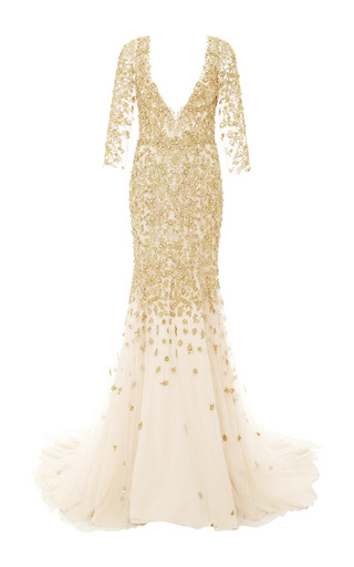 Medium marchesa gold embroidered v neck long sleeve tulle gown