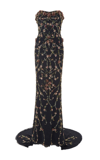 Medium marchesa black 3d floral embroidered strapless gown