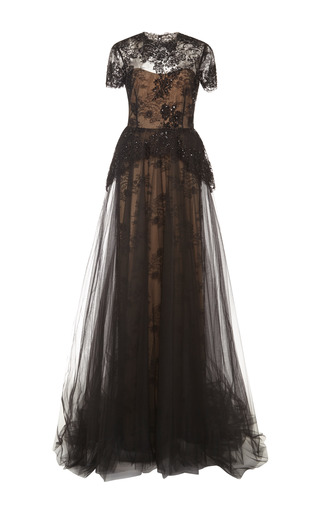 Medium marchesa black re embroidered lace peplum column gown