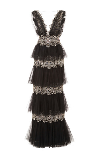 Medium marchesa black tiered tulle gown
