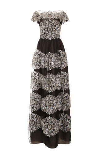 Medium marchesa black cap sleeve a line gown