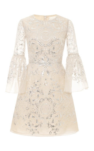 Medium marchesa nude sequin and threadwork organza cocktail dress