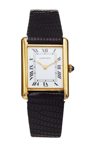 Medium lsc design estate jewelry black gold vermeil vintage cartier tank 2