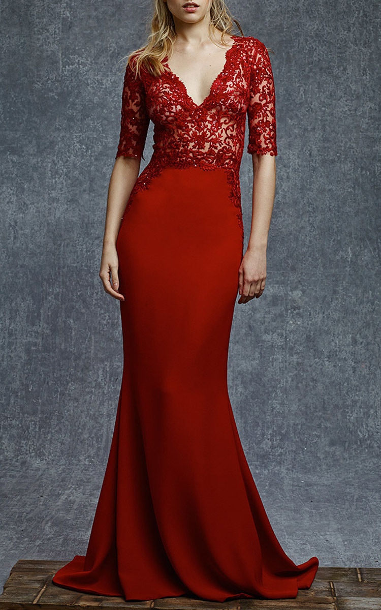 Funky Reem Acra Red Gown Vignette - Wedding and flowers ispiration ...