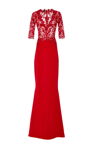 Medium reem acra red embroidered illusion flare bottom gown