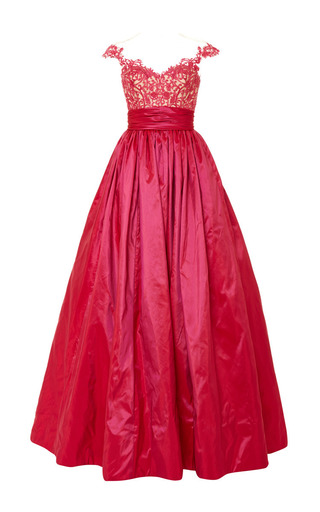 Medium reem acra pink embroidered illusion ball gown