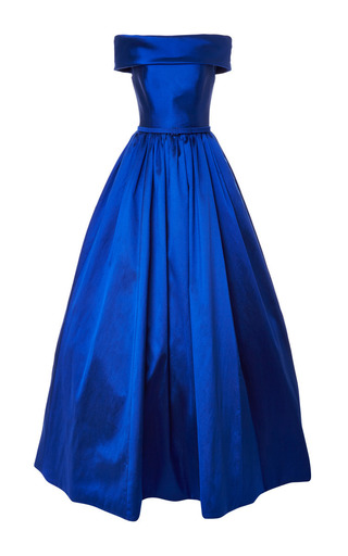 Medium reem acra blue off shoulder ball gown