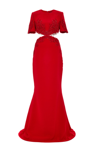 Medium reem acra red embroidered cut out gown