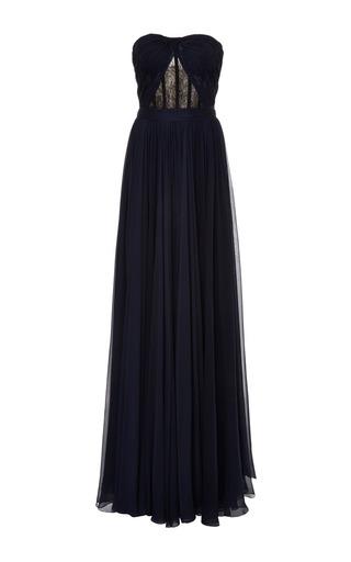 Medium reem acra multi draped bodice silk chiffon dress