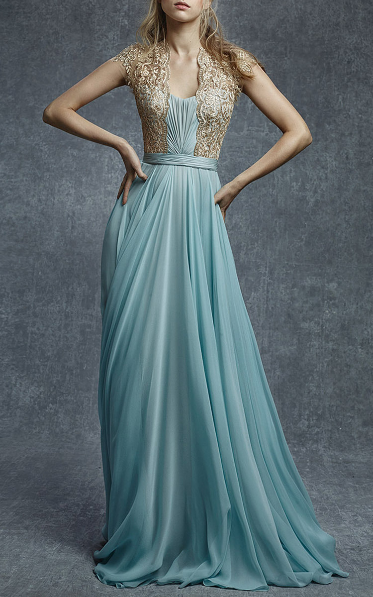 Embroidered Illusion Silk Chiffon Gown by Reem Acra | Moda