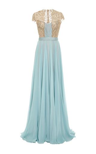 Medium reem acra blue embroidered illusion silk chiffon gown