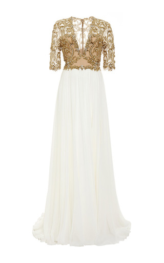 Medium reem acra brown embroidered illusion v neck gown