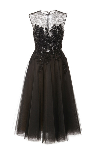 Medium reem acra black lace applique dress with tulle skirt