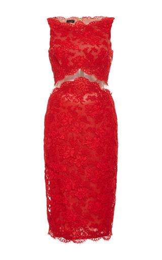 Medium reem acra red bateau neck dress with sheer midriff