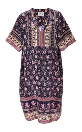 Medium sea blue bohemian border print silk dress