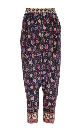 Medium sea blue bohemian border print silk harem pant