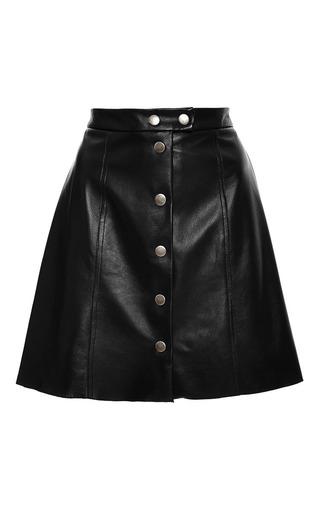 Medium sea black black leather snap up skirt