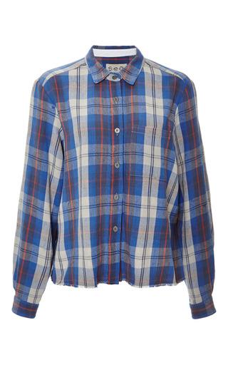 Medium sea blue plaid flannel combo button up shirt