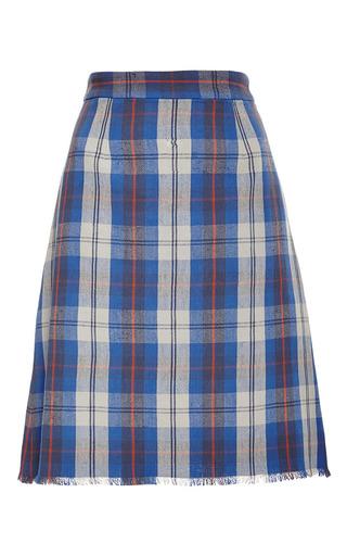 Medium sea blue plaid flannel frayed skirt