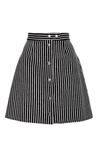 Medium sea black striped snap up skirt