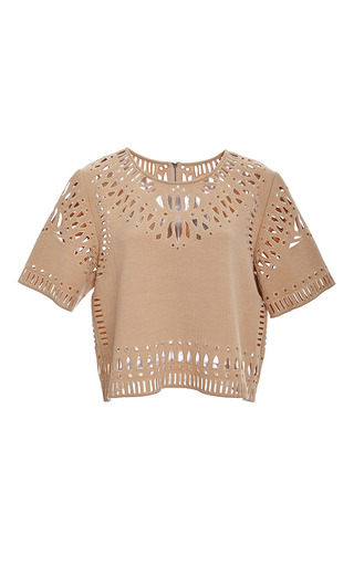 Medium sea brown camel cut out embroidery cropped top