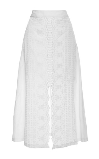 Medium sea white embroidered crinkle cotton long skirt