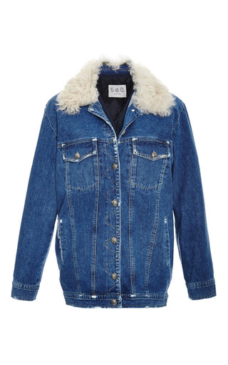 Medium sea blue washed indigo quilted jacket with shearling collar