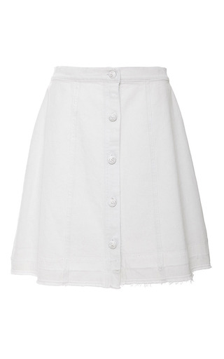 Medium sea white white denim button up mini skirt