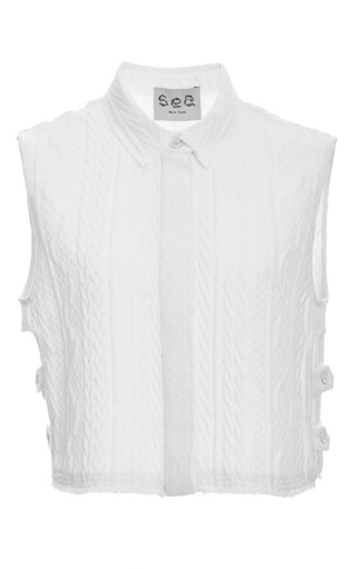 Medium sea white white embossed cable cropped button up