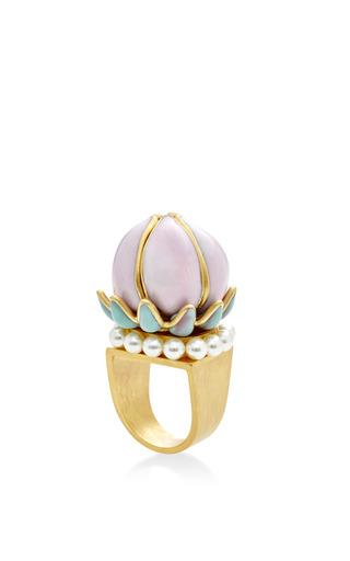Medium gripoix pink pastel pink and pearl fantasia flower ring