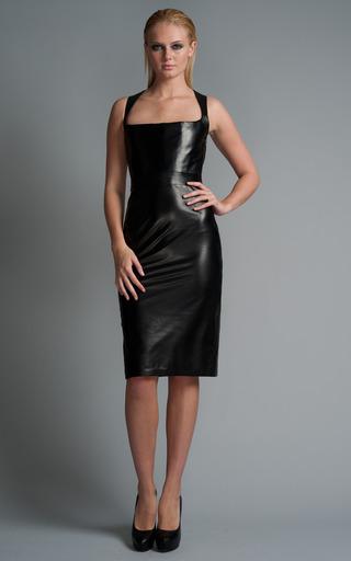 Medium cushnie et ochs black leather bustier dress