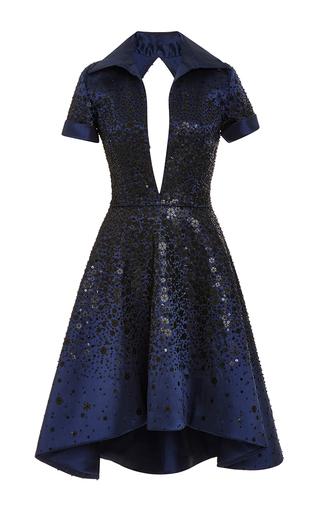 Medium naeem khan multi black sequin cocktail dress with high low hem