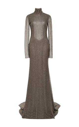 Medium naeem khan dark grey honeycomb beaded tulle gown with open back