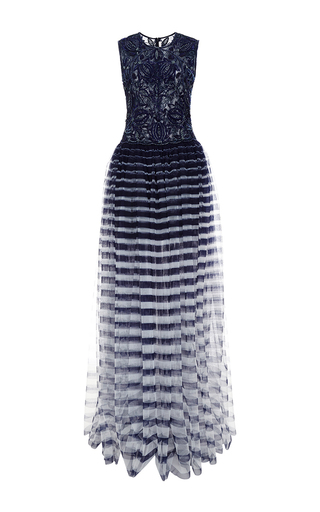 Medium naeem khan multi striped tulle gown with beaded bodice
