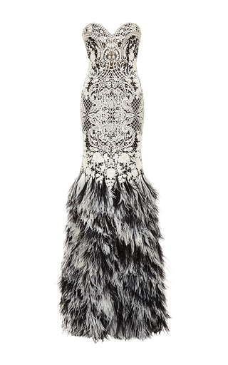 Medium naeem khan multi baroque beaded gown with ostrich feather skirt