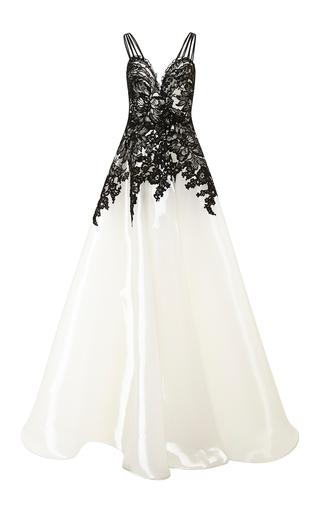 Medium naeem khan multi liquid organza gown with lace applique