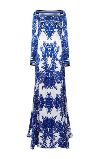 Medium naeem khan multi batteau neck floral print charmeuse gown